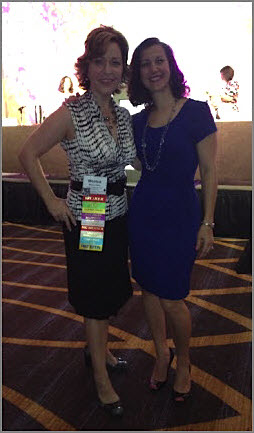 Monica and I a few days later when I moderated the Ask the Organizer Panel - in my own clothes and shoes!