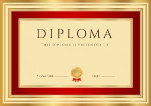 Certificate / Diploma template with red and gold border